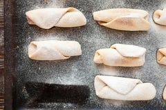 Vanilla scones on a baking tray Royalty Free Stock Photos