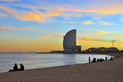 Vanilla sky of Barceloneta Royalty Free Stock Photography