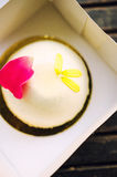 Vanilla sour cherry cake Royalty Free Stock Image