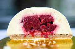 Vanilla sour cherry cake interior Royalty Free Stock Photos