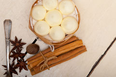 Vanilla and spice cream cake dessert Stock Image