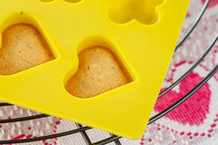 Vanilla  sponge cake hearts in yellow silicone mold. Cooling on metal rack Royalty Free Stock Images