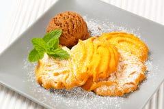 Vanilla Spritz cookies with ice cream Royalty Free Stock Photo