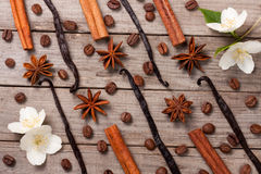 Vanilla sticks and cinnamon with anise and coffee beans on a old wooden background Stock Photo