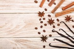 Vanilla sticks, cinnamon, coffee beans and star anise on white wooden background with copy space for your text. Top view Royalty Free Stock Images