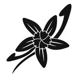 Vanilla sticks with a flower icon, simple style Royalty Free Stock Image