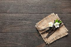 Vanilla sticks and flowers. On wooden background Stock Photography