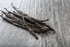Vanilla sticks on table. Close up Royalty Free Stock Images