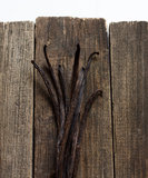 Vanilla sticks on the wood Stock Images