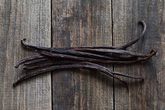Vanilla sticks on the wood Stock Image