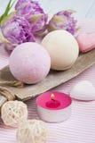 Vanilla and strawberry bath bombs Stock Photography