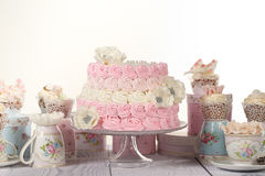 Vanilla and strawberry cake Royalty Free Stock Image