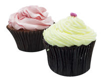 Vanilla and strawberry cup cake. Isolated Stock Images