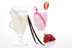Vanilla and strawberry milk shake. Stock Image