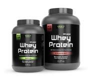 Vanilla and strawberry taste protein Royalty Free Stock Photo