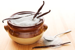 Vanilla sugar in bowl Royalty Free Stock Photography