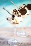 Vanilla sundae ice cream with chocolate sauce and cookies Royalty Free Stock Image