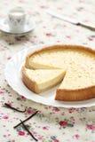 Vanilla Tart on a white plate Royalty Free Stock Image