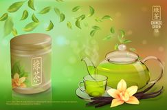 Tea advertising flyer, poster or banner template. Green tea ad, with tea leaves, glass cup, teapot, package jar and vector illustration