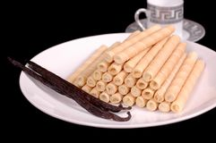 Vanilla Viennese wafers. With vanilla beans Stock Images