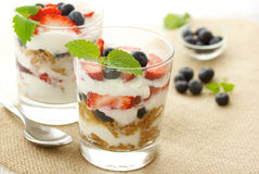 Vanilla yogurt over strawberries and blueberries Stock Images