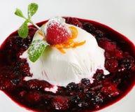 Vanilla yogurt panna cotta with berry sauce royalty free stock images