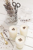 Vanilla Yogurt Panna Cotta with Dried Lavender Flowers. And Scissors in a Glass Jar Stock Photo