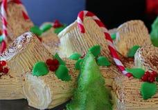Vanilla yule log cake royalty free stock image