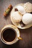 Vanilla zephyr. Delicious zephyr with chocolate and vanilla Stock Photo