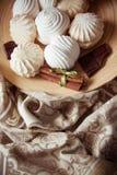 Vanilla zephyr. Delicious zephyr with chocolate and vanilla Royalty Free Stock Photos