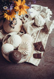 Vanilla zephyr. Delicious zephyr with chocolate and vanilla Royalty Free Stock Images