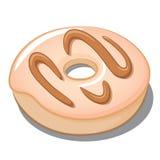 Vanille bereift mit Karamell-Zuckerglasur-Donut Lizenzfreie Stockbilder
