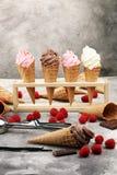 Vanille bevroren yoghurt of zacht roomijs in wafelkegel Royalty-vrije Stock Afbeeldingen