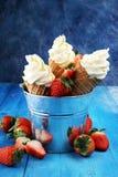Vanille bevroren yoghurt of zacht roomijs in wafelkegel Royalty-vrije Stock Afbeelding