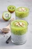Vanille chia Pudding mit Kiwi, überlagerter Nachtisch, konkreter Hintergrund Lizenzfreies Stockfoto