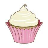 Vanille Cupcake en Suikerglazuur Roze Omslag Stock Afbeelding