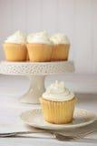 Vanille cupcakes klaar te eten Stock Afbeeldingen