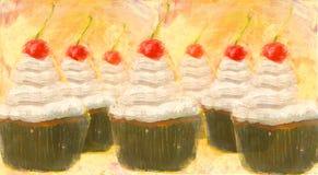 Vanille der kleinen Kuchen in Folge, die Kirsche auf Spitzenölgemälde bereift lizenzfreie abbildung