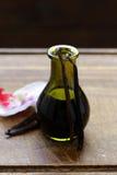 Vanille-Extrakt in einer Flasche und in einer Vanille lizenzfreies stockbild