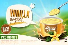 Vanille-Jogurt-Anzeige realistisch vektor abbildung