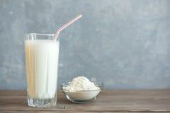 Vanille-Proteindrink stockfotos