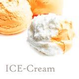 Vanille-und Mango-Eiscreme Stockbilder