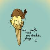 Vanille- und SchokoladenEiscreme Stockfoto