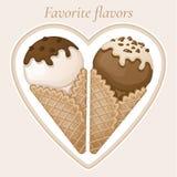 Vanille- und SchokoladenEiscreme mit Schokoladenbelag und Creme in einem Waffelkegel Stockfotos