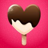 Vanilleeis mit Schokolade geschmolzener Spitze Stockbild