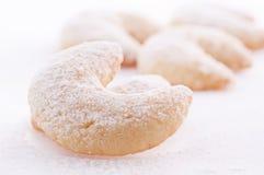 Vanillekipferl cookies. Traditional german christmas cookies Vanillekipferl with powdered sugar Stock Photography