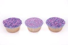 Vanillekleine kuchen, mit purpurrot-farbigem buttercream Lizenzfreie Stockfotografie