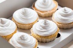 Vanillekleine kuchen mit weißer Creme Lizenzfreie Stockbilder