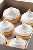 Vanillekleine kuchen mit weißer Creme, Abschluss oben Lizenzfreies Stockbild