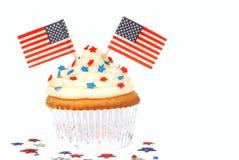 Vanillekleiner kuchen mit 4. des Juli-Themas Stockfoto